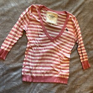 Pink and off white Abercrombie and Fitch sweater